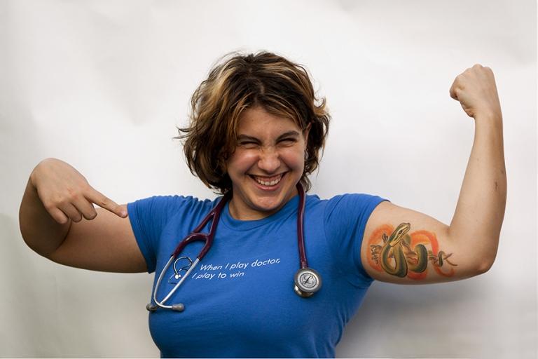 med student tattoo dr portrait photographer sarah muscles grr dinosaur