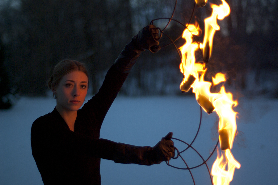 Ember Flynn Winter Snow Fire Fans Portrait Photographer