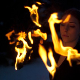 Winter fire performer concept portrait photography