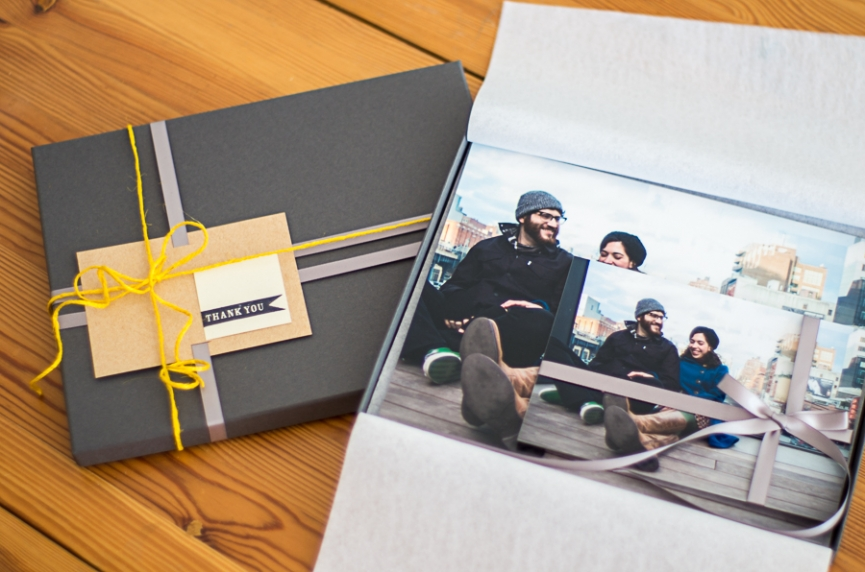 Blue Photography Portrait and Wedding Prints Packaging in grey, kraft, and yellow